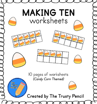 Making Ten Worksheets - Candy Corn Halloween Ten Frames