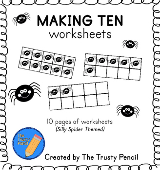 Making Ten Worksheets - Silly Spiders Halloween Ten Frames