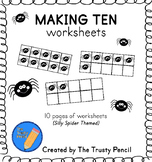 Making Ten Worksheets - Silly Spiders Halloween Ten Frames