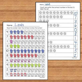 January and Winter Kindergarten Math Activities and Worksheets