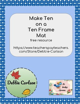 Making Ten on a Ten Frame Mat