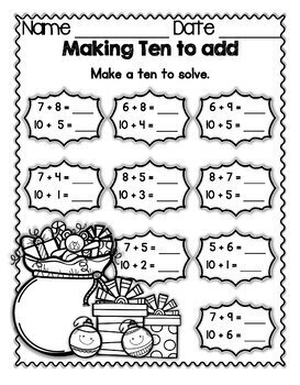 Making Ten to Add  Holiday FREEBIE Mega Math Practice CCSS 1.OA.6A