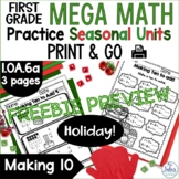 Making Ten to Add  Holiday FREEBIE Mega Math Practice CCSS