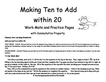 Place Value Strategy: Make Ten to Add: Work Mats and Practice Pages Gr. 1 and 2