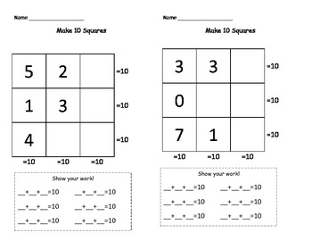 Making Ten with 3 Addends - Sudoku