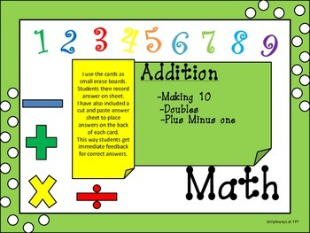 Making Tens, Doubles, and Plus Minus One Cards