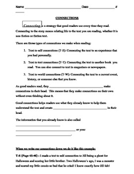 making text connections worksheet strategies 1 worksheet by life in 209. Black Bedroom Furniture Sets. Home Design Ideas