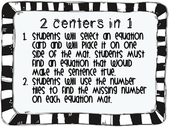 Making True Equations (addition) Math Center Common Core Aligned