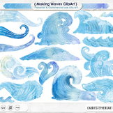 Water ClipArt, Blue Watercolor Wave Clip Art, Summer, Beach, Ocean