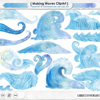 Making Waves, Blue Watercolor Wave Clip Art, Summer, Beach, Ocean