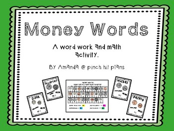 Money Words: a work word activity with money