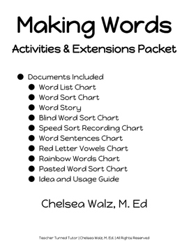 Making Words: Activities and Extensions