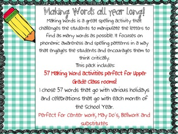 Making Words Activity Bundle:Make Words All Year Long!