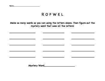 Making Words Activity: Science Words
