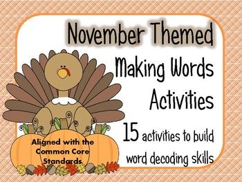 Making Words Activity Sheets for November