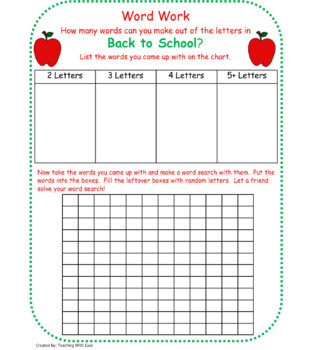 Making Words: Word Work for Back to School