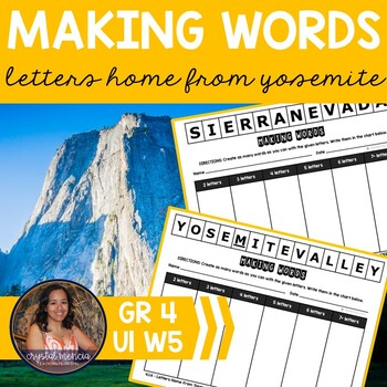 Making Words CENTER - Letters Home from Yosemite