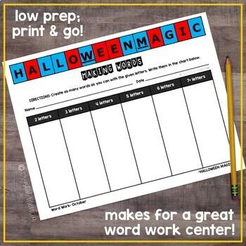 Making Words CENTER - October