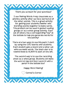 Making Words CVC Short E Pack