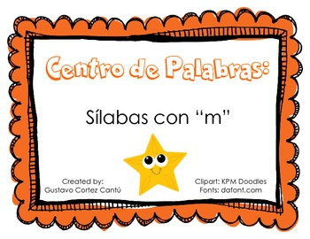 "Making Words Center: Silabas ""m"" Spanish (sample FREE version)"