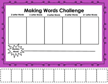 FREE Making Words Challenge