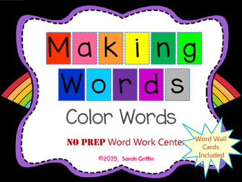 Making Words FREE  Color Words Writing Center