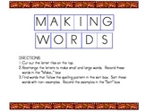 Making Words Fall Version