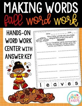 Making Words Fall Word Work Center
