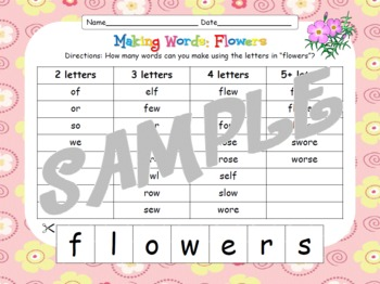 "Making Words! ""Flowers"" {Hands-on Phonics and Spelling Fun}"