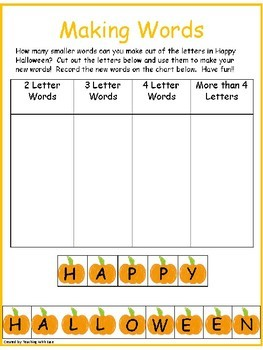 Making Words: Word Work for Halloween