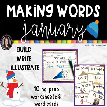Making Words JANUARY Winter writing center and Vocabulary Cards
