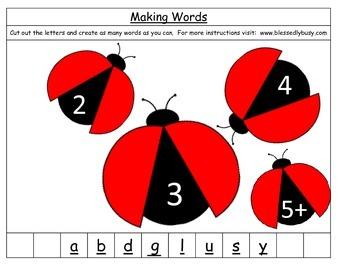 Making Words:  Ladybugs