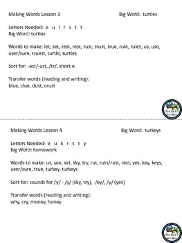 Making Words Lessons - Animals