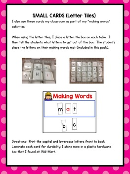 Word Work for Little People: Making Words Letter Cards (Placards)