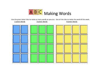 Making Words Mat or Handout