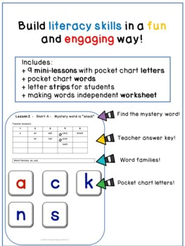 Making Words No Prep Activities Short Vowels - 10 Short A mini-lessons