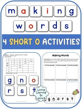 Making Words No Prep Activities 4 Short Vowels - Short O Mini Lessons