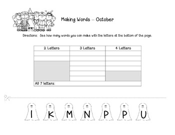 Making Words - October