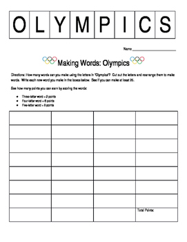 Making Words: Olympics