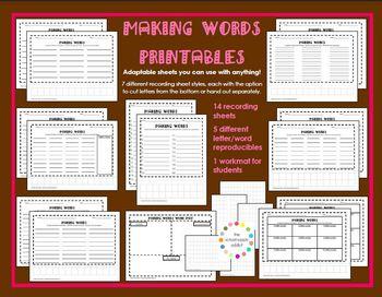 Making Words Printables {A Hughes Design}