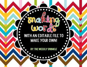 Making Words Prompts and EDITABLE