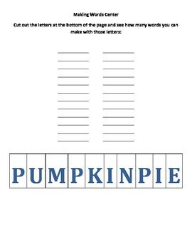 Making Words: Pumpkin Pie