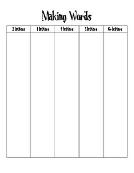Making Words Record Sheet