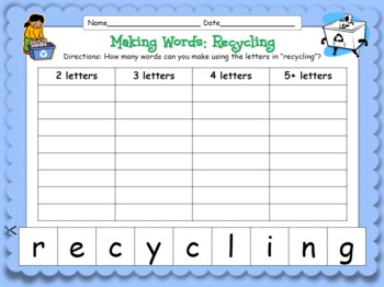 """Making Words! """"Recycling"""" {Hands-on Phonics and Spelling Fun}"""