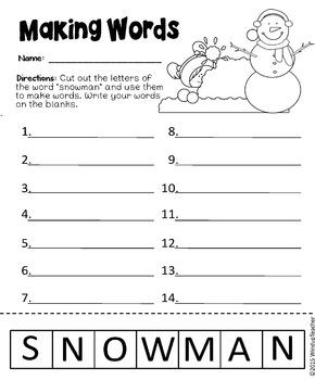 Make Words ~ SNOWMAN ~ Center & Activity Sheets