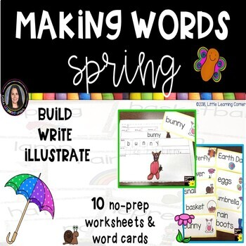 Making Words SPRING Writing Center and Vocabulary Cards