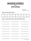 Making Words Sheet using SPELLING BANDZ