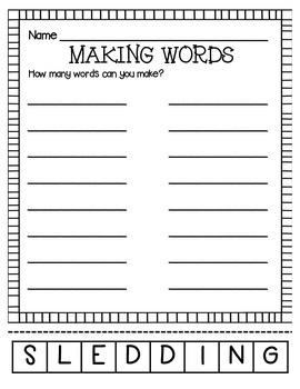 Making Words-Sledding