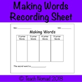 Making Words Sorting Template Worksheet