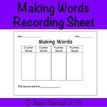 Making Words Sorting Template Worksheet